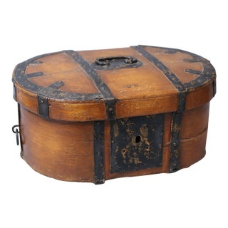 19th-C. Swedish Baroque Box with Iron Mounts For Sale
