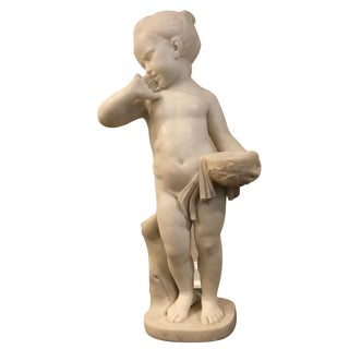 18th Century Antique Charles Antoine-Bridan Marble Child With Bird's Nest Sculpture For Sale