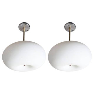 Mid-Century Modern Opaque White Glass Pendants - a Pair For Sale