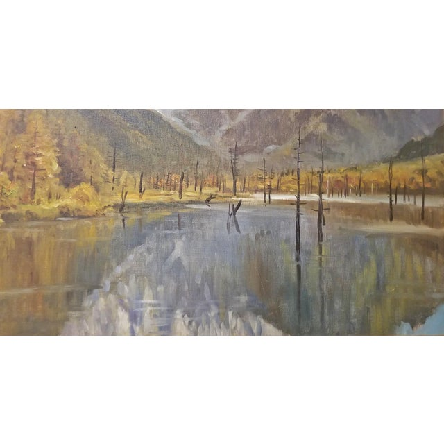 Hiyashi NoBuo Large Oil on Canvas – Lake & Snow Mountains For Sale In Dallas - Image 6 of 9