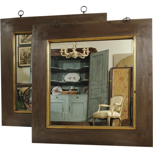 French Industrial Style Mirrors - A Pair For Sale - Image 4 of 4
