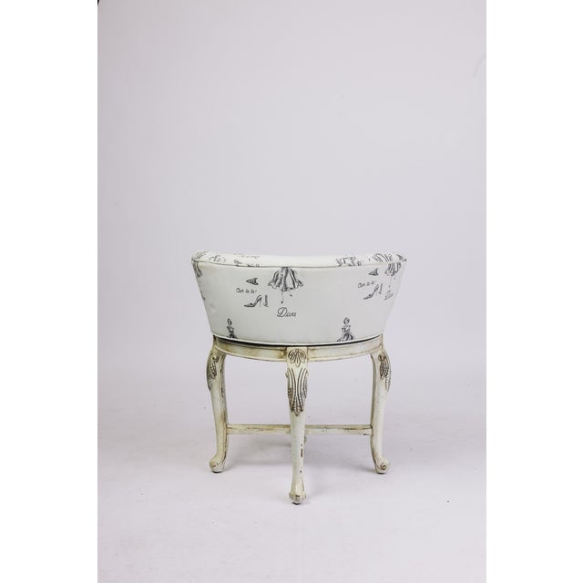 Vanity Chair in Diva Print Fabric For Sale - Image 4 of 5