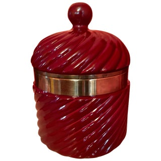 Tommaso Barbi Italian Ceramic Ice Bucket With Brass Detail For Sale