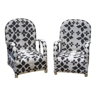 Black & White Yoruba African Hand Beaded Arm Chairs For Sale
