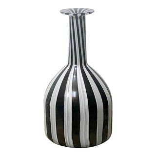 Vintage Murano Black and White Murano Bud Vase, Italy Circa 1960 For Sale