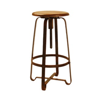 Wood & Industrial Iron Stool For Sale
