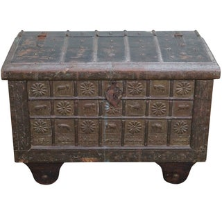 Antique Moroccan Iron & Brass Bound Lidded Chest For Sale