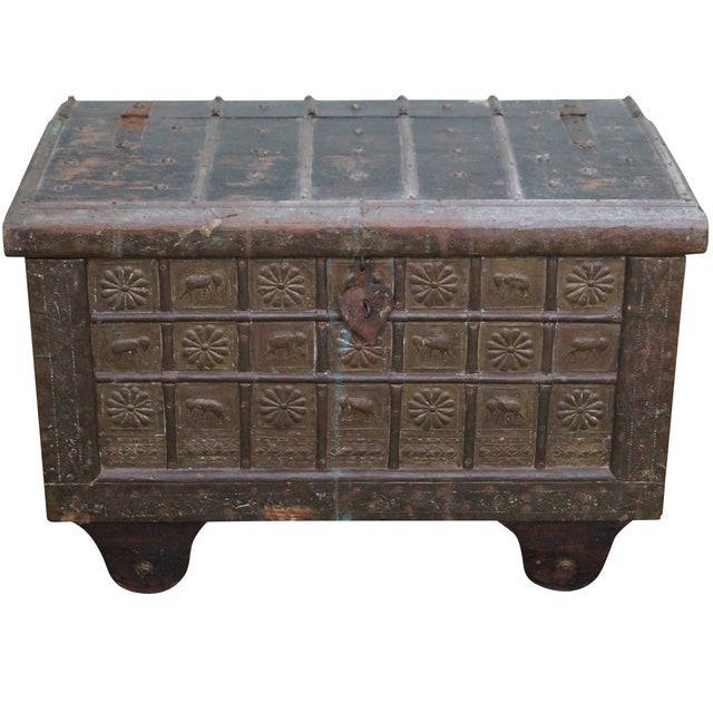 Antique Moroccan Iron & Brass Bound Lidded Chest - Image 1 of 10