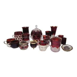 Ruby Red Souvenir Glassware - Set of 18 For Sale