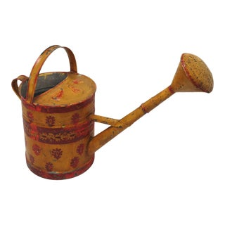 Large Antique American Folk Art Painted Garden Watering Can For Sale