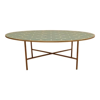 Modern Turquoise and Gold Geometric Design Reverse Painted Mirror Oval Cocktail Table For Sale