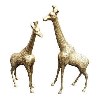 1960s Traditional Brass Giraffe Statues - a Pair For Sale
