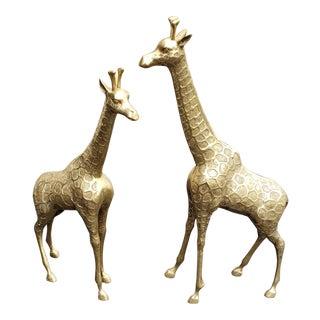 1960s Traditional Brass Giraffe Statues - a Pair