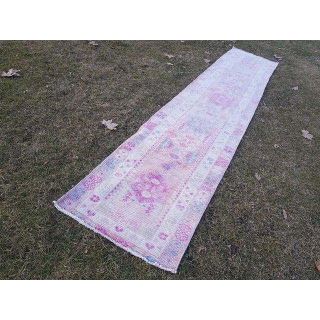 "Tribal Distressed Turkish Oushak Runner Rug - Low Pile Herki Rug 2'7"" X 13'4"" For Sale - Image 3 of 13"