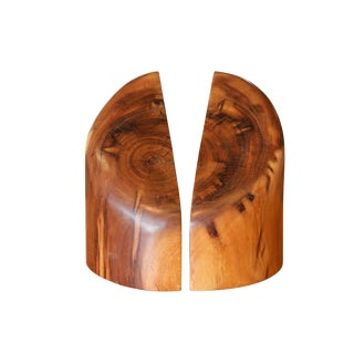 Sculptural Wood Block Bookends, a Pair For Sale