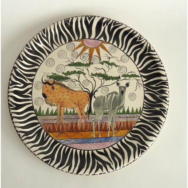 1990s 1997 African Safari Penzo of Zimbabwe Pottery Platter For Sale - Image 5 of 5