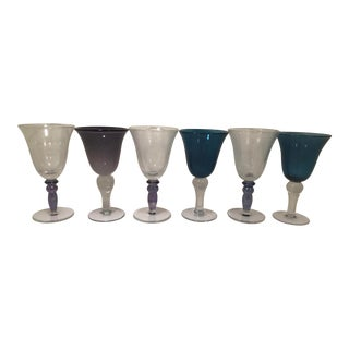 1980s Vintage Italian Handblown Glass Goblets - Set of 6 For Sale