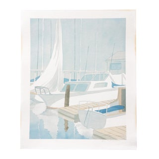 Late 20th Century Coastal Modern Sailboat Art Print by Artist Robert White For Sale