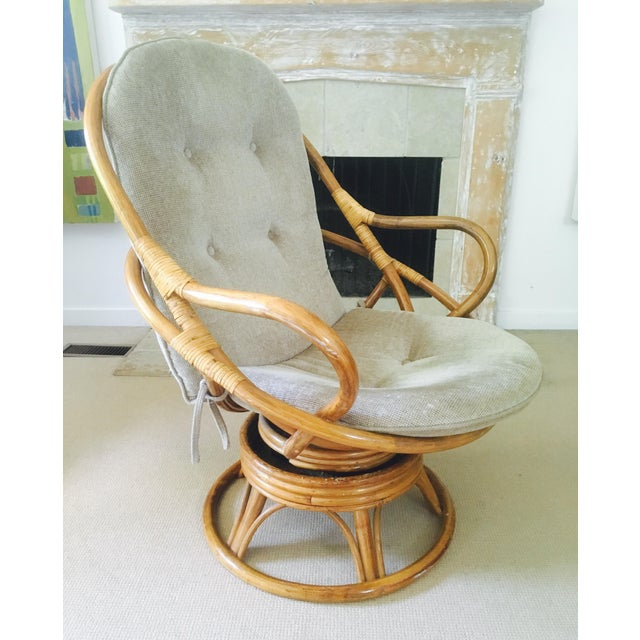 Vintage Bamboo Swivel Lounge Chair - Image 4 of 7
