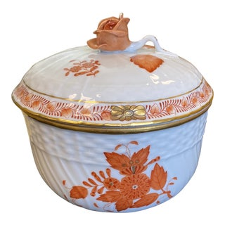 Vintage Early 20th Century Herend Chinese Rust Sugar Bowl With Handle Rose Lid For Sale