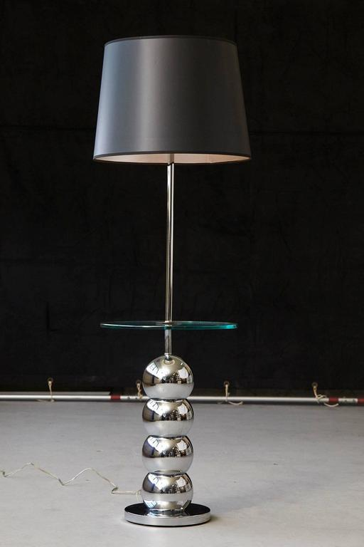 George Kovacs Stacked Chrome Ball Floor Lamp With Integrated Glass Table    Image 7 Of 7