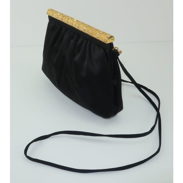 C.1980 Givenchy Black Satin Evening Handbag With Rhinestone Closure For Sale In Atlanta - Image 6 of 13