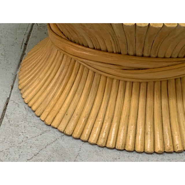 McGuire McGuire Sheaf of Wheat Rattan Coffee Table For Sale - Image 4 of 8