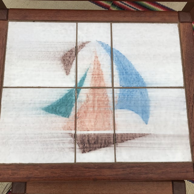 1970s Danish Modern Teak and Tile Top Nesting Tables - Set of 3 For Sale - Image 6 of 13