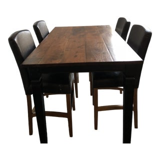 Contemporary Arhaus Dining Table & 4 Leather Counter Stools - Set of 5 For Sale