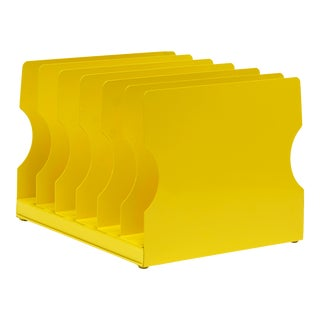 1940s Desktop File Holder Refinished in Mellow Yellow For Sale