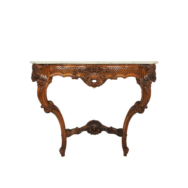 1900s French Wall Mounted Marble Console Table For Sale - Image 10 of 10