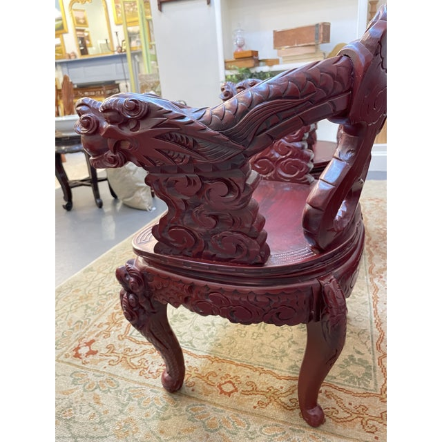 Brick Red 1960s Vintage Red Carved Wood Chinese Dragon Chairs - a Pair For Sale - Image 8 of 9