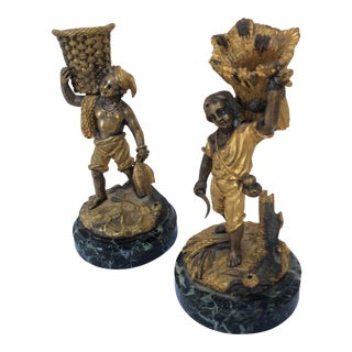 Bronze Figural Match Holders - A Pair For Sale