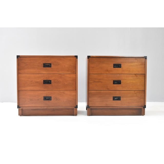 This gorgeous pair of vintage campaign style chests were expertly crafted by Drexel in the late 1960's, as part of their...