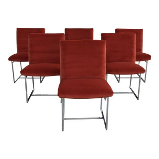 Reupholstered Mid Century Modern Milo Baughman for Thayer Coggin Persimmon Velvet and Chrome Dining Chairs - Set of 6