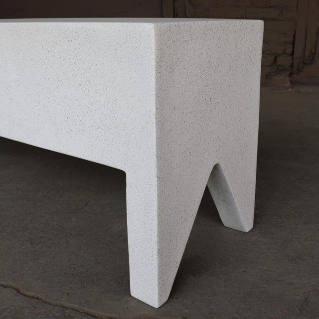 Cast Resin 'Farm' Bench, White Stone Finish by Zachary A. Design For Sale In Chicago - Image 6 of 8