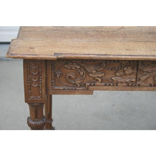 18th Century French Oak Table With Carvings and Single Drawer For Sale - Image 4 of 8