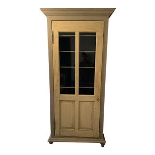 Boho Chic Anthropologie Two-Tone Wood and Glass Armoire For Sale