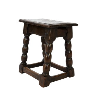 English Oak Joint Stool With Bobbin Turned Legs and Box Stretcher, Circa 1840 For Sale