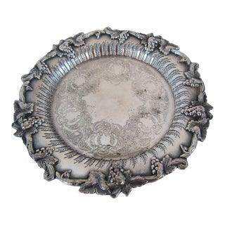 Vintage Wine Coaster With Grapes and Leaves For Sale