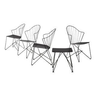 Mannhardt-Stahlmöbel Set of Four Chairs and a Table, Germany, 1950s