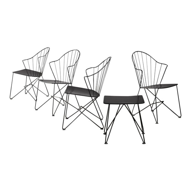 Mannhardt-Stahlmöbel Set of Four Chairs and a Table, Germany, 1950s For Sale