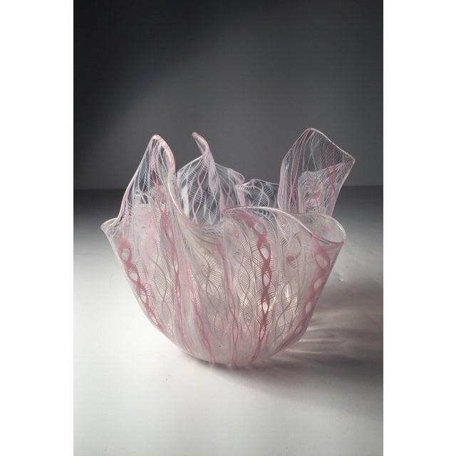 Mid-Century Modern Signed Venini Fazzoletto Handkerchief Glass Vase by Fulvio Bianconi For Sale - Image 3 of 6