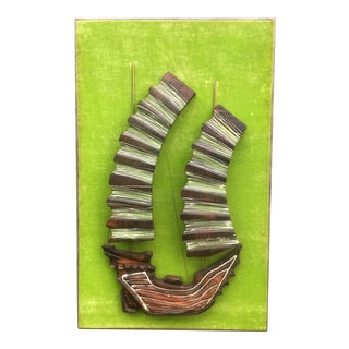 Witco Lime Green Ship Wall Sculpture For Sale