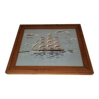 Vintage Framed Ship Embroidery For Sale