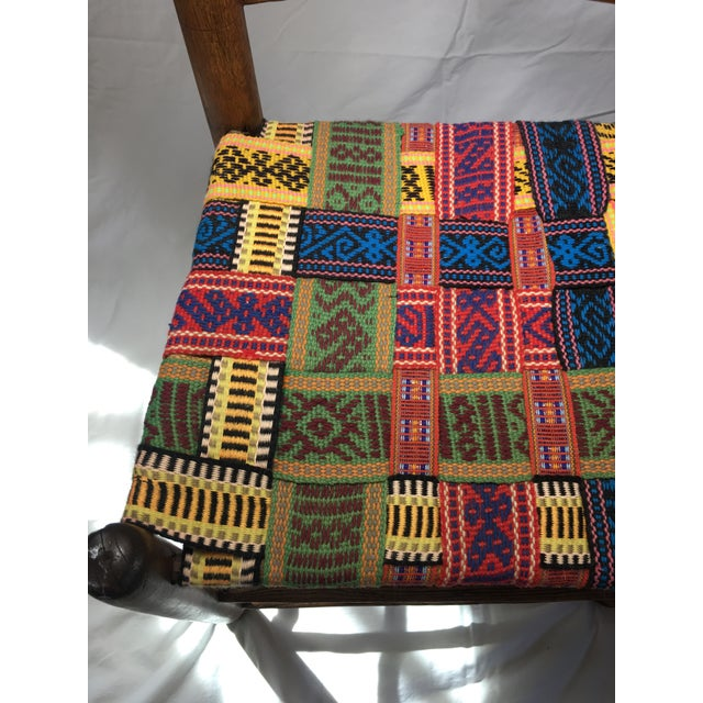 1950s Vintage Wood and Multicolor Woven Chair For Sale - Image 4 of 6