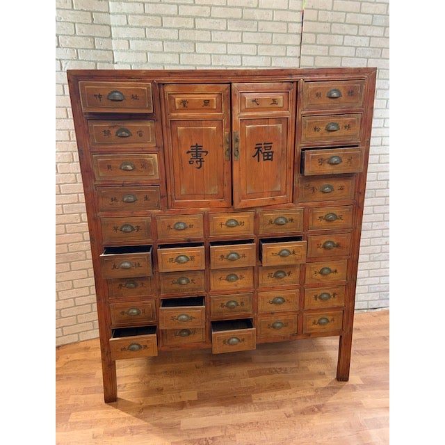 Asian Antique Authentic Asian Multi Drawer Medicine Cabinet For Sale - Image 3 of 11