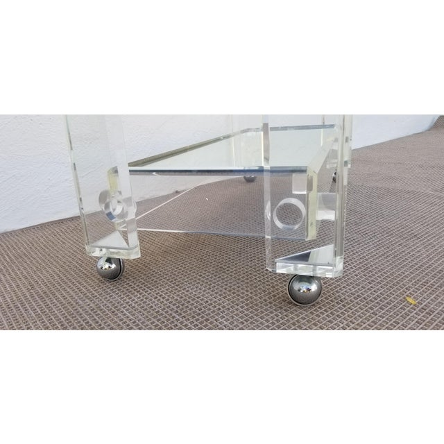 Silver 1970s Lucite Mirrored Glass Bar Cart For Sale - Image 8 of 13