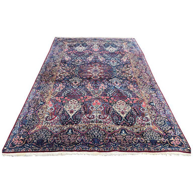 Palatial Antique Persian Carpet With Red Border, Blues, Reds, Creams, Kermin For Sale - Image 13 of 13