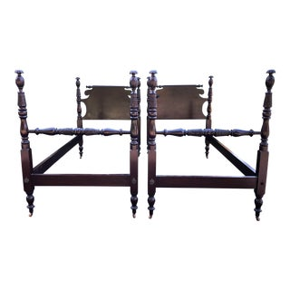 Antique Mahohany Pineapple Post Twin Beds- a Pair For Sale